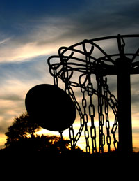 Disc Golf Basket at Sunset